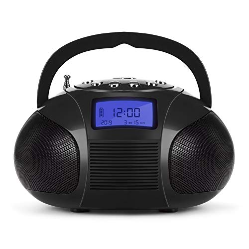 August SE20 - Mini Bluetooth MP3 Stereo - Portable Radio with Powerful Bluetooth Speakers - FM Alarm Clock Radio with SD Card Reader, USB and AUX in - Black