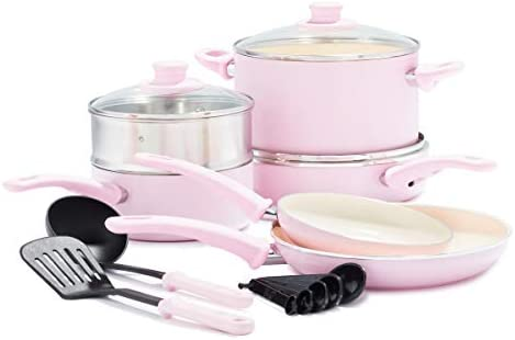 GreenLife Soft Grip Healthy Ceramic Nonstick Pink Cookware Pots and Pans Set 12 Piece product image