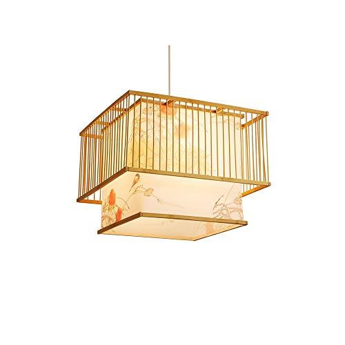 LSSB Lámpara de araña de la personalidad creativa de estilo chino de bambú tejido de la lámpara de araña de la sala de estar sala de té de la lámpara dormitorio de la lámpara Cama y desayuno decoració