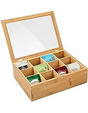 mDesign Caja de té Hecha de Madera – Caja para infusiones con 12 Compartimentos para almacenar bolsitas de té – Práctica Caja con Ventana en la Tapa – Color bambú