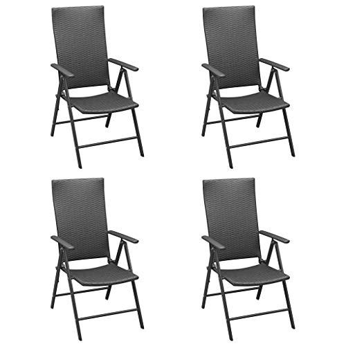 vidaXL 4X Sillas de Jardín Sillón Exterior Patio Terraza Balcón Asiento Butaca Muebles Mobiliario Duradera Robusta Ratán Sintético Negro