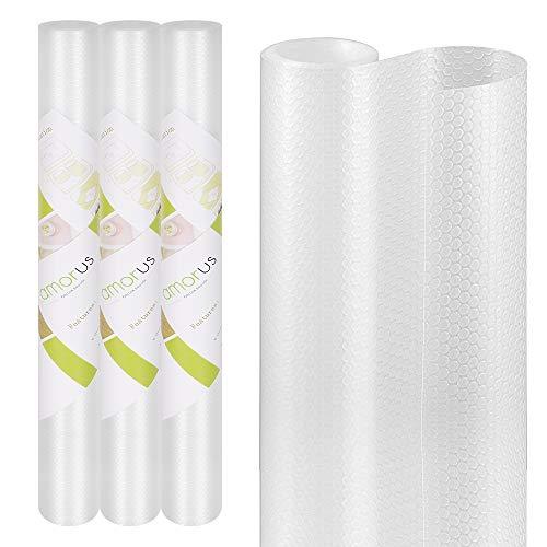 amorus Schubladenmatte, 3 PCS DIY waschbare wasserdichte Antirutschmatte, Antimehltau Antibakterielle Schubladeneinlage für Kühlschrank und Schublade-45x150cm (transparent)