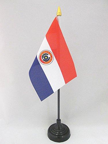 AZ FLAG Bandera de Mesa de Paraguay 15x10cm - BANDERINA de DESPACHO PARAGUAYA 10 x 15 cm Punta Dorada