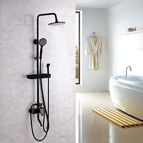 Wieoc Columna de Ducha Cuatro bloques de baño de bronce frotado con aceite Conjunto de grifo de ducha de 8 pulgadas Abs Cabeza de ducha redonda + Abs Spray de manos + Cestas de ducha