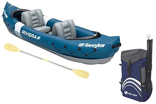 Sevylor Kayak Gonflable Riviera, Canoë Canadien 2 Places, Kayak de Mer, 315 x 84 cm, Pagaie Incluse