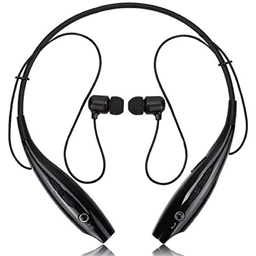 Wireless Earphones Headphones for Infinix Hot 9 Play Sports Bluetooth Wireless Earphone with Deep Bass and Neckband Hands-Free Calling inbuilt Mic Headphones with Long Battery Life and Flexible Headset (HB-25,Black)