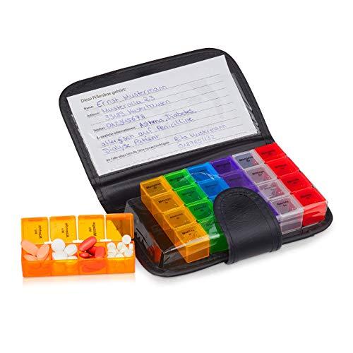 Relaxdays Tablettenbox met etui, 7 dagen, 4 vakken, pillendoosje voor onderweg & reizen, medicijnetui, zwart/bont