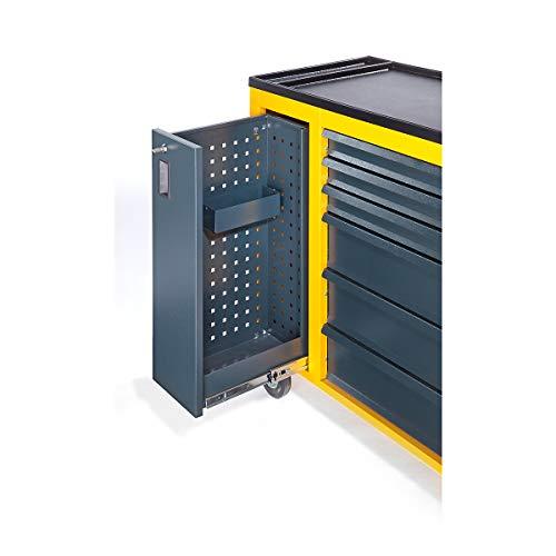 QUIPO Werkstattwagen JUMBO - mit Vertikalauszug und 6 Schubladen, enzianblau - Schubladenrollwagen...