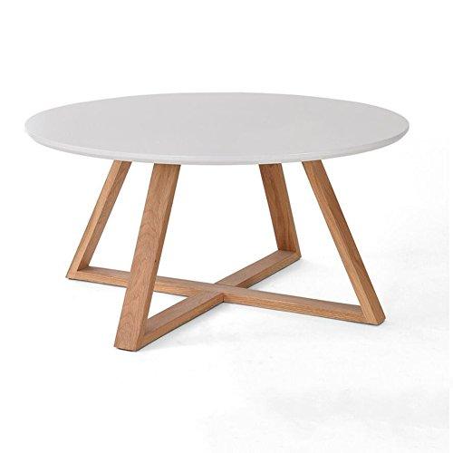 HoNey Petite Table Cadre en Bois Massif Ronde Petit Salon Appartement Table De Thé Table À Thé Diamètre 80cm, Hauteur 39cm (Couleur : Blanc)