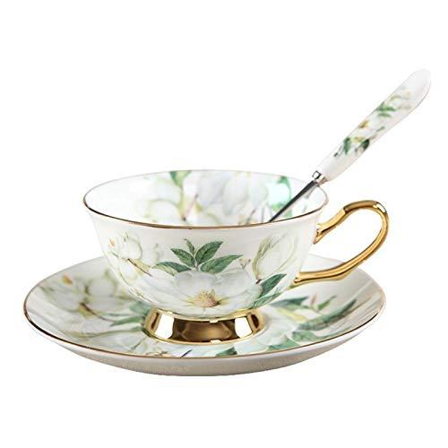 Tazas de café Hueso China Taza y platillo con cuchara 8.5oz Vintage Taza de café de la vendimia Copa de té floral con ajuste de oro comedor y decoración de mesa Tazas para Espresso ( Color : A )