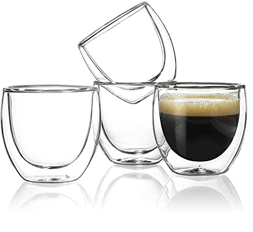 Tazas cafe Vasos cristal doble pared Juego de 4 tazas de café y té espresso vidrio térmicos para cappuccino latte macchiato jugo, transparente, 80 ml