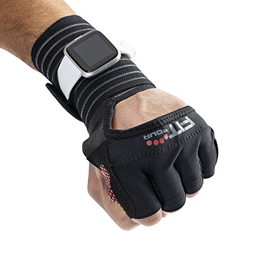 Fit Four OCR Slit Grip Gloves Obstacle Course Racing & Mud Run Hand Protection | Wrist Support with Slit for Fitness Watch (Black/Red, Small)