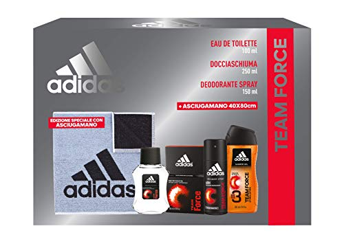 Adidas Confezione Regalo Uomo Team Force, Eau de Toilette 100 ml, Gel Doccia Bagnoschiuma 250 ml, Deodorante Spray 150 ml, Asciugamano Palestra