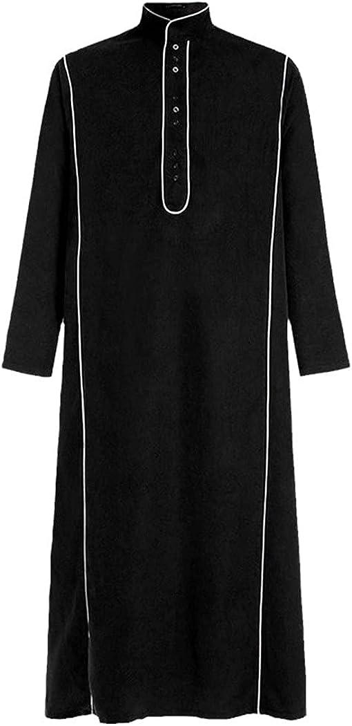 Men Muslim Islamic Kaftan Button Long Sleeve Stand Collar Solid Vintage Saudi Arabia Jubba Thobe Robes