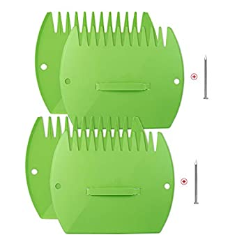 WUHOSTAM 2 Pair Garden and Yard Leaf Scoops Hand Rakes,Leaf Grabber Set,Use for Leaves Grass Clippings and Trash - Green with 2 Pcs Steel Nails