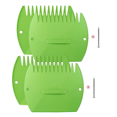 WUHOSTAM 2 Pair Garden and Yard Leaf Scoops Hand Rakes,Leaf Grabber Set,Use for Leaves, Grass Clippings and Trash - Green(with 2 Pcs Steel Nails)