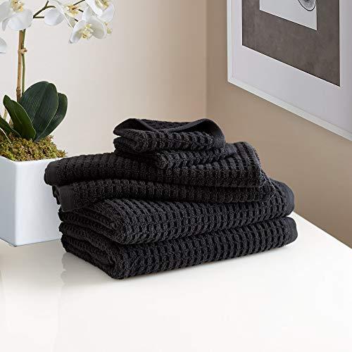 DKNY Quick Dry Cotton Towel Set - 2 Bath, 2 Hand, 2 Washcloths, Black