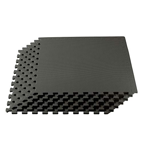 We Sell Mats Foam Interlocking Anti-Fatigue Exercise Gym Floor Square Trade Show Tiles (Charcoal Grey, 200 SQFT (50 Tiles + Borders))