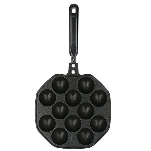 Rehomy 12 cavidades de aluminio Takoyaki Pan Maker Pulpo Bolas Puffs Huevos Molde de Hornear Herramientas de Cocina Hogar (Negro)