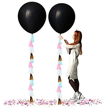 Treasures Gifted Gender Reveal Party Supplies 36 Inch Jumbo Black Balloons with Confetti and White Pink Gold Blue Tassels for Boy or Girl Neutral Decorations  2 Pack