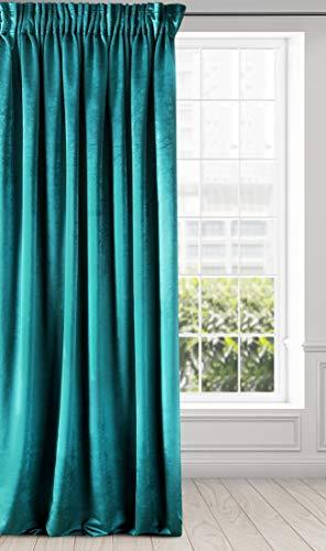 Eurofirany Cortina Aterciopelada de Terciopelo – Cinta Fruncida Suave Elegante y Moderna para Dormitorio o salón, Tela, Turquesa, 140x270 cm