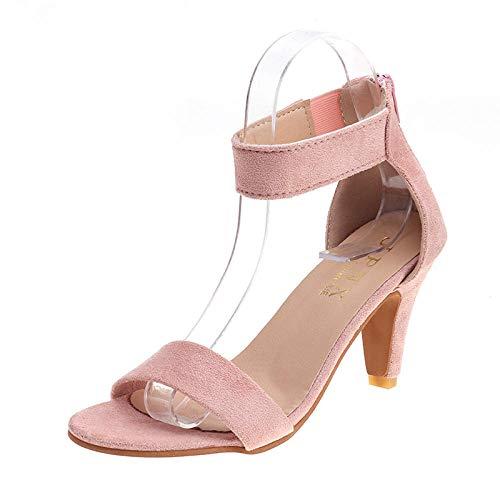 CCSSWW Sandalias de Verano Zapatos de Playa,Sandalias Tacones Finos-Rosa_40,Interior Al Aire Libre Verano Zapatillas