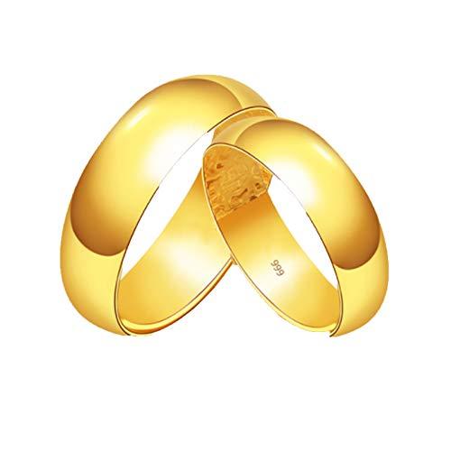 ZOSUO Bandas de Boda Anillo de Oro 24K del De Oro Anillo De Pareja con Grabado Personalizable De Titanio Pulido Regalos De Joyería De Oro Puro De Oro Real