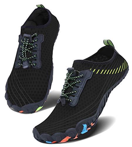 Men Women Water Sports Shoes Slip-on Quick Dry Aqua Swim Shoes for Pool Beach Surf Walking Water Park (6.5 Women/5 Men, 1Black)