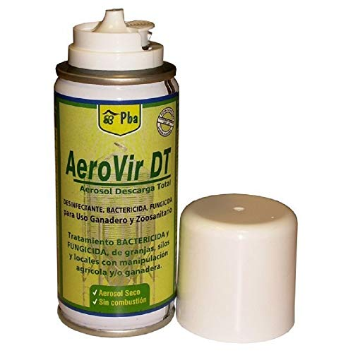 Aerovit DT PL Aerosol Descarga Total Desinfectante, Control de Insectos, Bactericida y Fungicida, Entornos Ganaderos, Granjas, Silos y Locales Agrícolas - 50 ml