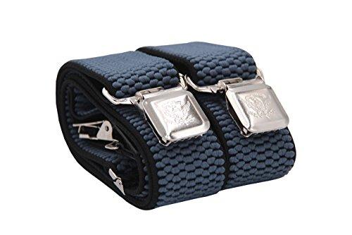 Fabio Farini - Tirantes de tamaño ajustable de 4 cm de ancho en forma de Y, con sujeción extra fuerte para los hombres - Azul Azul gris Negro