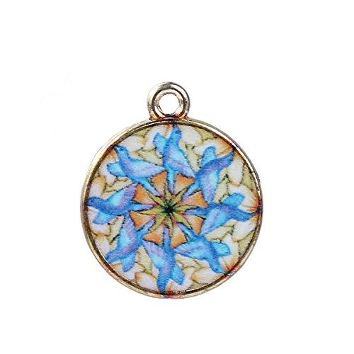 Sadingo metalen hanger mandala, DIY sieraden zelf maken armband, ketting, oorbellen, sieraden knutselen - 5 stuks - 22x18mm
