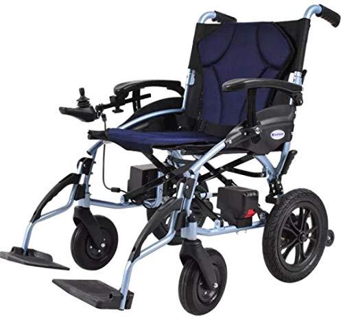 LTHDD Silla de Ruedas eléctrica ergonómica, batería de Litio, Plegable Ligero, discapacitado, Scooter Viejo, Azul, Azul, Color Nombre: Azul (Color : Blue)