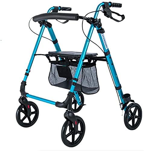 Walkers for Seniors Rollator Walker, marco para caminar 4 ruedas plegable compacto ayuda a la movilidad con bolsa de asiento silla de transporte Walker Multi uso Bastón Ancianos minusválidos caminante