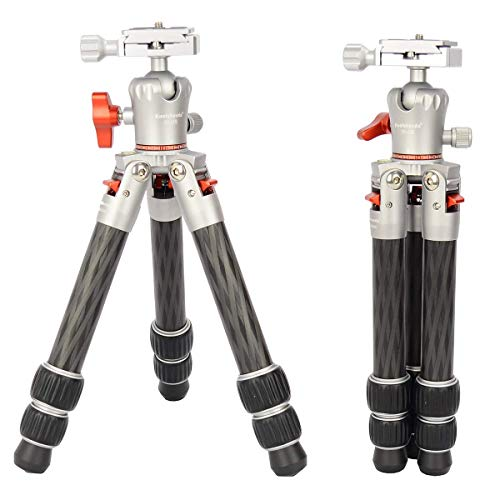 Koolehaoda Mini trípode portátil de Fibra de Carbono, Pesa Solo 1,25 Libras y Soporta Cargas de hasta 17 Libras (TKS-223C)