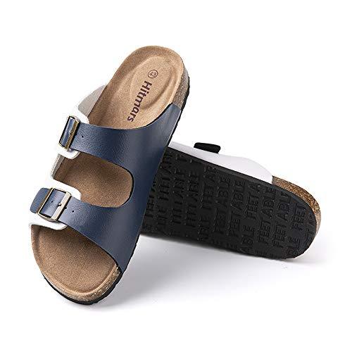Sandalias Hombre Verano Chanclas Piscina Planta Corcho Zuecosde Punta Descubierta Playa Zapatillas de Casa Zapatos Cómodos Azul Y Blanco-2 43 EU