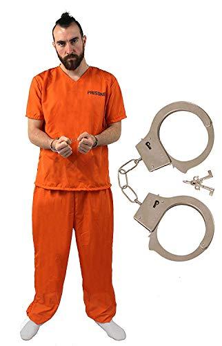 I LOVE FANCY DRESS LTD Disfraz DE Prisionero para Adultos Conjunto TEMATICO DE 3 Piezas con Esposas Fiestas TEMATICAS O Halloween (XL)