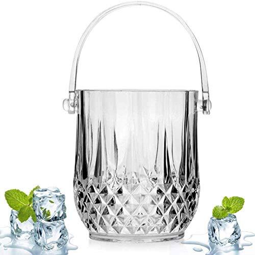 DZX Cubo de Hielo para el hogar/Enfriador de Bebidas de Bar/Cubo de Cerveza, acrílico, Transparente, 1.3 litros, Cubo de Hielo Cubo de plástico para Vino Botellas de Vino Tinto o champán portátil