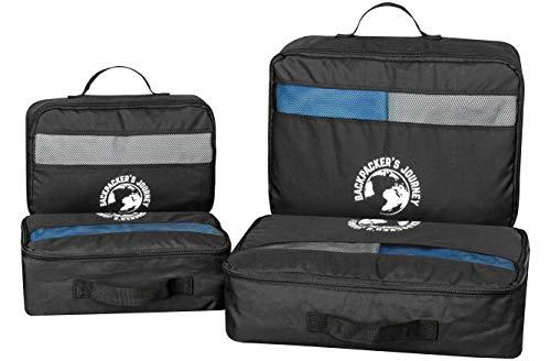 Backpacker\'s Journey Kleidertaschen mit Haken, Packwürfel Set schwarz. Ideal für Backpacks, Rucksäcke und Koffer Aller Art (4-teilig)