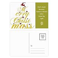 クリスマス鹿アートワード・フェスティバル 詩のポストカードセットサンクスカード郵送側20個