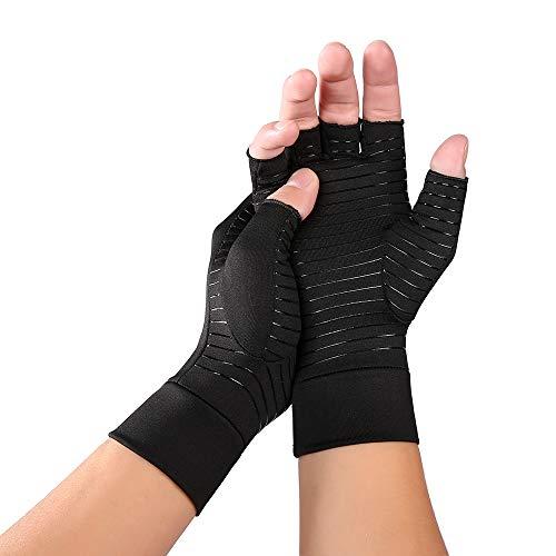 KKmoon Kompressionstherapie Handschuh Handgelenkstütze Anti-Arthritis Rheumatold Gesundheit Hand Schmerzlinderung Ärmel Handschuhe Schwarz M
