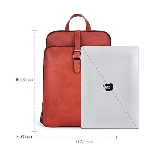 Womens Backpack Purse Vegetable Tanned Full Grain Leather 15.6 Inch Laptop Travel Business Vintage Large Shoulder Bag 3