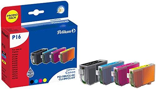 Pelikan P16 Druckerpatronen PromoPack (ersetzen Canon PGI-5BK/CLI-8C/CLI-8M/CLI-8Y) schwarz, cyan, magenta, gelb
