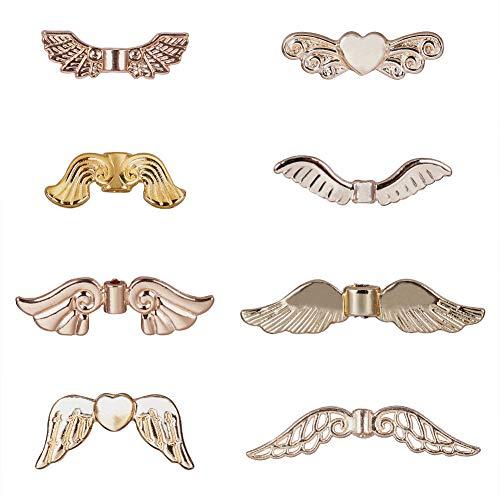 PandaHall 40pcs 8 Stili Lega d'oro Ali di Angelo Charm Perline Distanziatori in Metallo per la creazione di Gioielli Collana Braccialetto