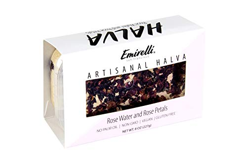 Emirelli Artisanal Halva Dessert – Authentic Middle Eastern Candy Turkish Sweets – Vegan Candy 55%-Tahini Halwa - Halvah Traditional International Sweets - Rose Water and Rose Petal Flavor, Pack of 1