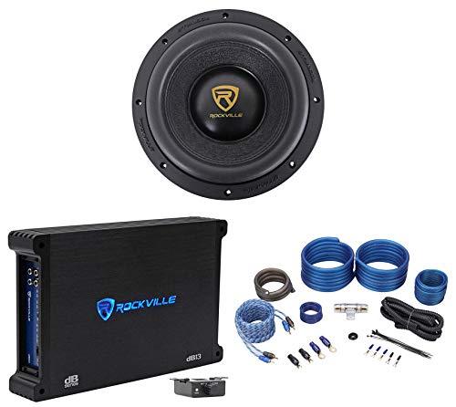 Rockville W10K9D4 10' 3200 Watt Car Audio Subwoofer+Mono Amplifier+Amp Kit