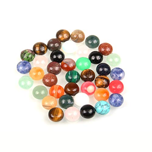 20 PCS Natural Stones Cabochon 16mm Round Mixed Color Loose Beads No Hole for Jewelry Making