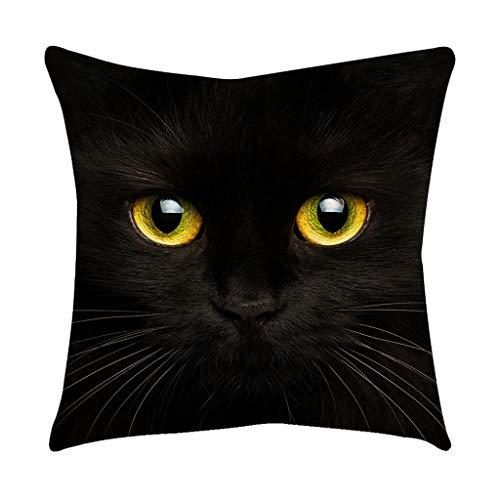 Overdose Cushion Cover, Cute Cat Pattern Black Gold Cushion Cover Square Pillowcase