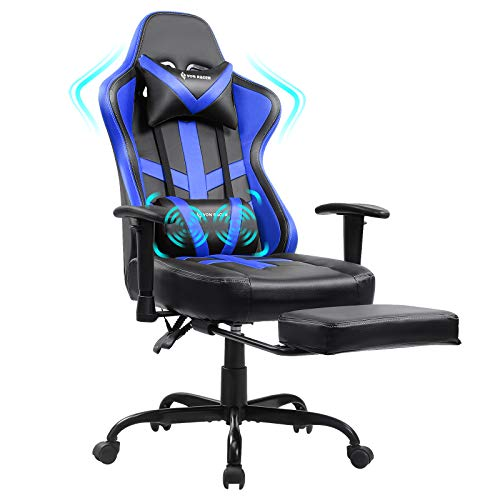 Gaming Chair Massage with Footrest Blue Ergonomic Reclining Video Game Chair Recliner PC Computer Chair with Headrest & Lumbar Support for Adult VON RACER