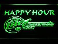 Miller Lite Miller Time Happy Hour LED看板 ネオンサイン ライト 電飾 広告用標識 W30cm x H20cm グリーン