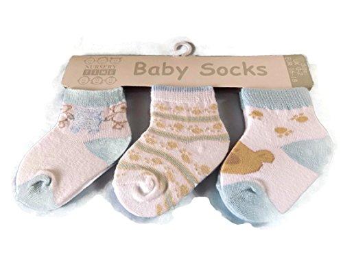 3 paires de chaussettes pour bébé Teddy et pattes Taille 0–2
